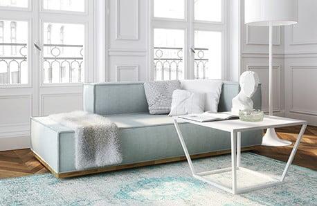 Jadalnia, salon i sypialnia w stylu skandynawskim