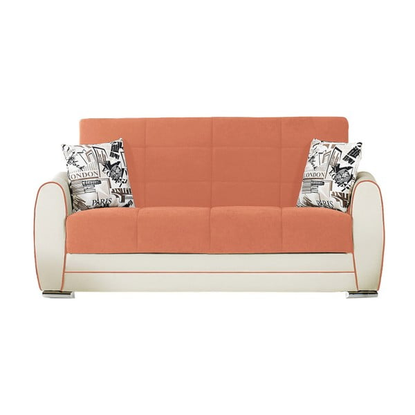 Ceglasto-kremowa dwuosobowa sofa rozkładana ze schowkiem Esidra Rest