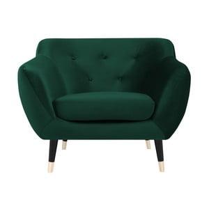 Zielony fotel z czarnymi nogami Mazzini Sofas Amelie