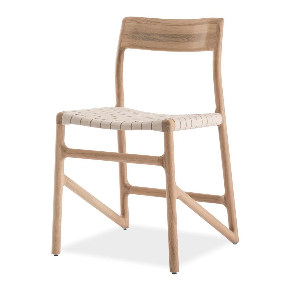 Krzesło z litego drewna dębowego z białym siedziskiem Gazzda Fawn