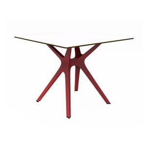 Stół z czerwonymi nogami i białym blatem odpowiedni na zewnątrz Resol Vela, 90x90 cm
