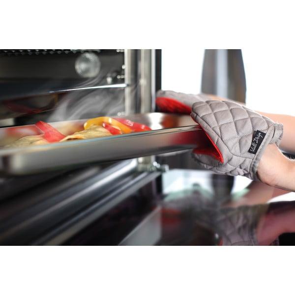 Czerwono-szara bawełniana łapka kuchenna z silikonem Vialli Design Hot Touch
