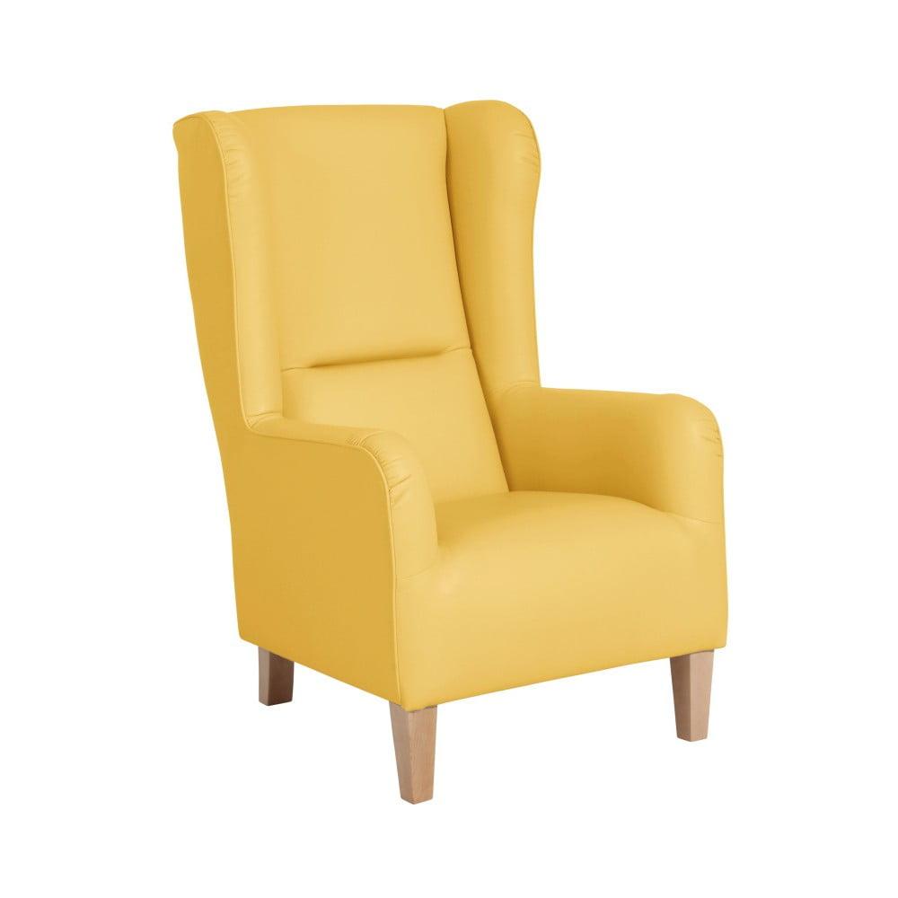 Żółty fotel ze skóry ekologicznej Max Winzer Bruno