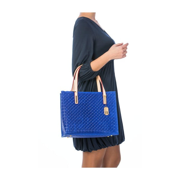 Niebieska torebka skórzana Federica Bassi Matar