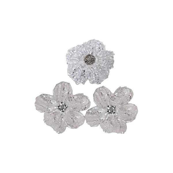 Zestaw 3 dekorativních květin Grey