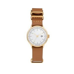 Zegarek z brązowym paskiem i złoto-białą tarczą Cheapo Harold Mini