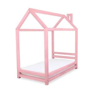 Różowe łożko dziecięce z drewna sosnowego Benlemi Happy,80x180cm