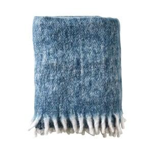 Niebieski pled bawełniany Södahl Brushed, 130x170 cm