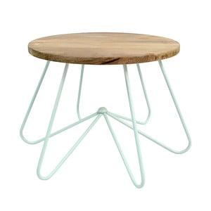 Jasnozielony stolik z drewnianym blatem HF Living Round Stocky