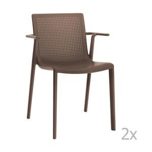 Zestaw 2 brązowych krzeseł ogrodowych z podłokietnikami Resol beekat