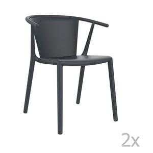 Zestaw 2 ciemnoszarych krzeseł ogrodowychResol steely