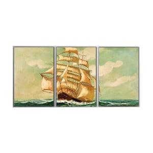 Trzyczęściowy obraz Big Boat, 45x90 cm