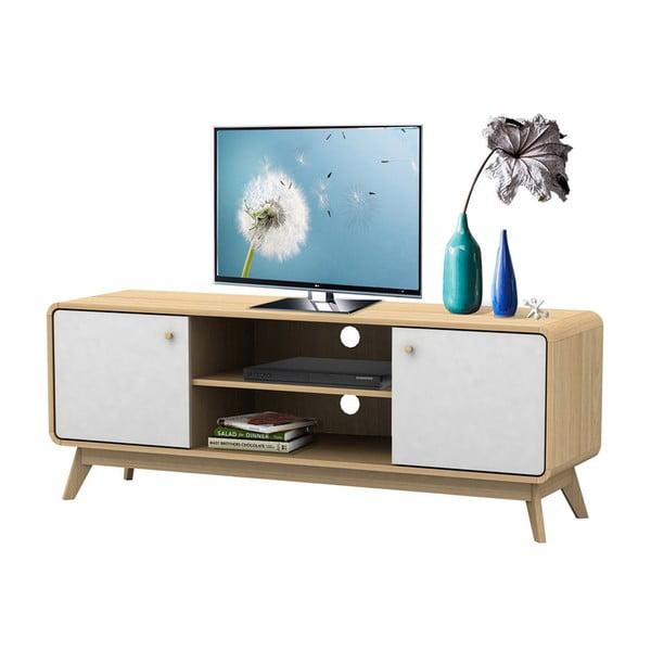 Biało-brązowa drewniana szafka pod TV Støraa Cleo