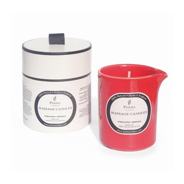 Świeczka do masażu o zapachu sandałowego drzewa, paczuli i ylang ylang Parks Candles, 50 godz.