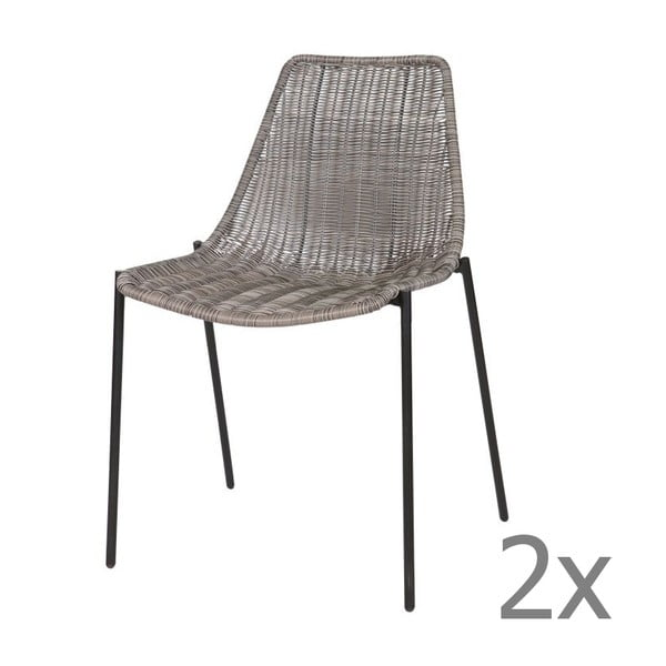 Zestaw 2 krzeseł Morris Grey