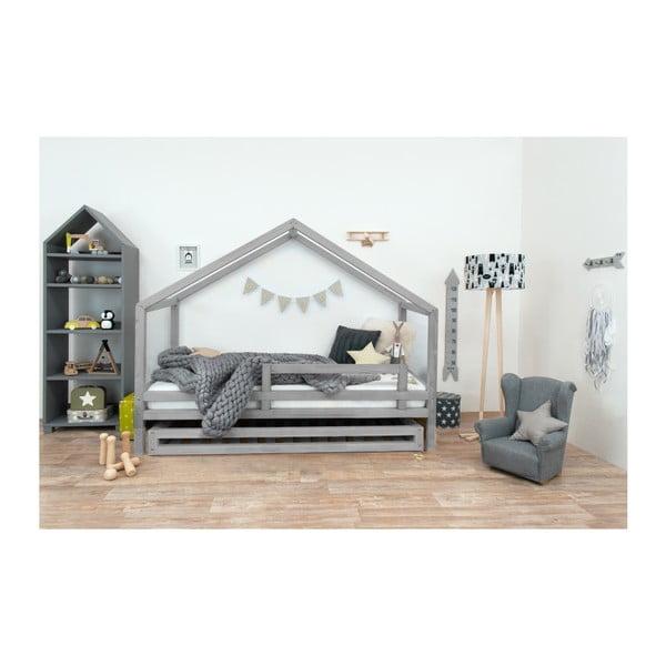 Szare łóżko dziecięce z lakierowanego drewna świerkowego Benlemi Sidy, 120x190 cm