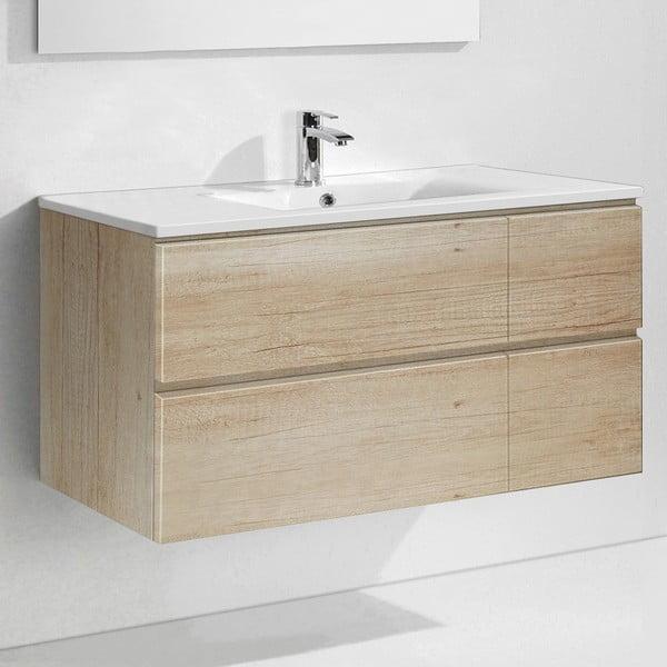 Szafka do łazienki z umywalką i lustrem Capri, motyw drewna, 120 cm