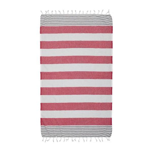 Ręcznik Hamam Ellis Red/Gray, 100x180 cm