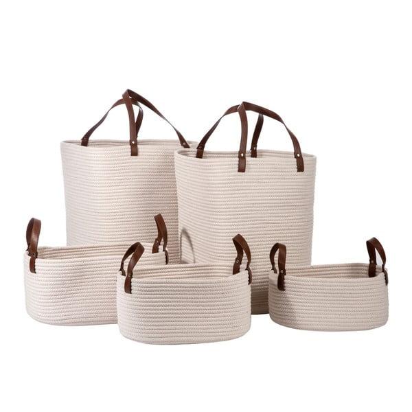 Zestaw 5 koszyków Cotton White