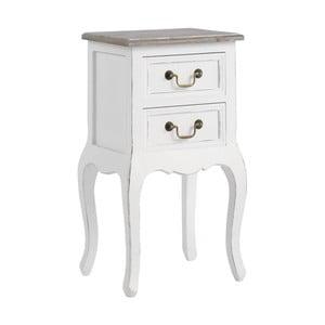 Biała szafka nocna z litego drewna z 2 szufladami 13Casa Adele