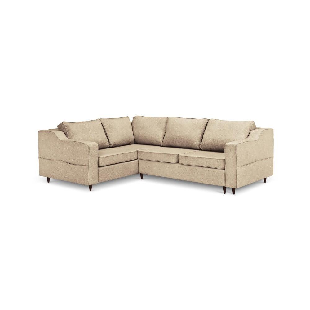 Beżowa sofa rozkładana z miejscem do przechowywania Mazzini Sofas Narcisse, lewostronna