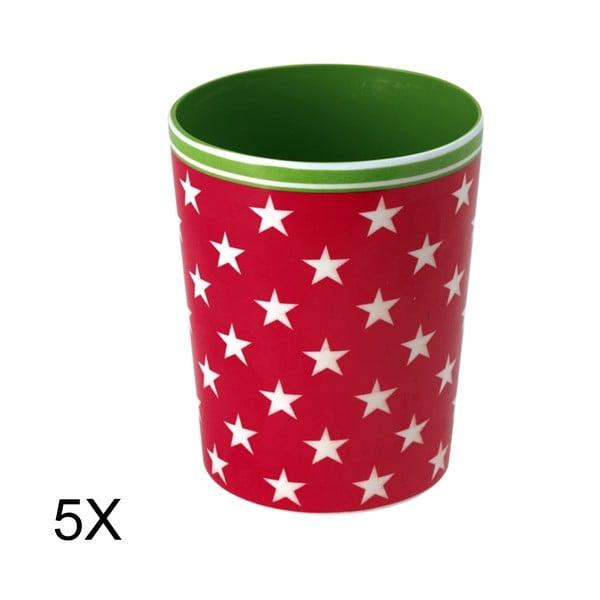 Zestaw 5 kubków Star Red