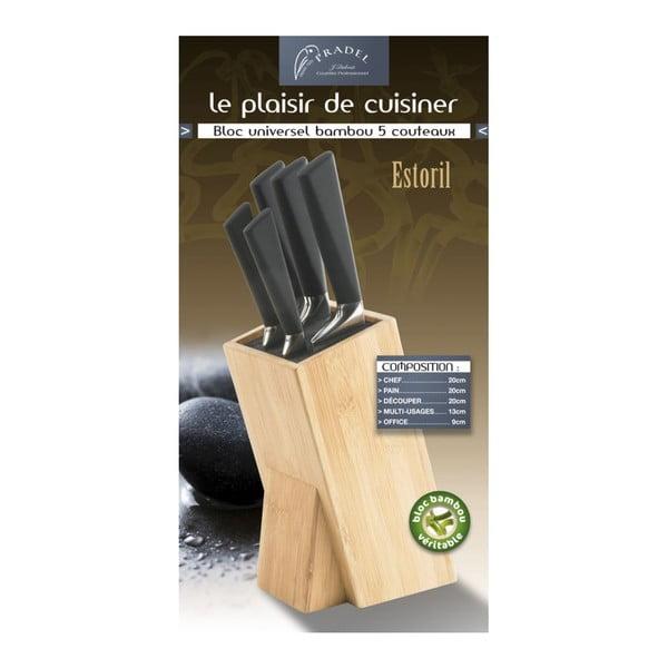 Komplet 5 noży z blokiem Jean Dubost Gine Estoril Bamboo