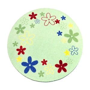 Dywan Deko - zielony w kwiaty, 100 cm