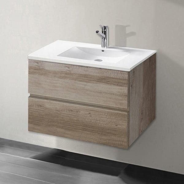 Szafka do łazienki z umywalką i lustrem Flopy, motyw dębu, 70 cm