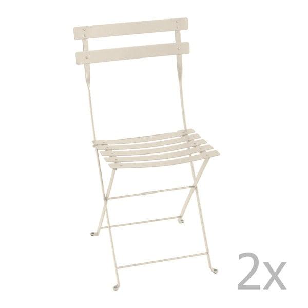 Zestaw 2 kremowych krzeseł składanych Fermob Bistro