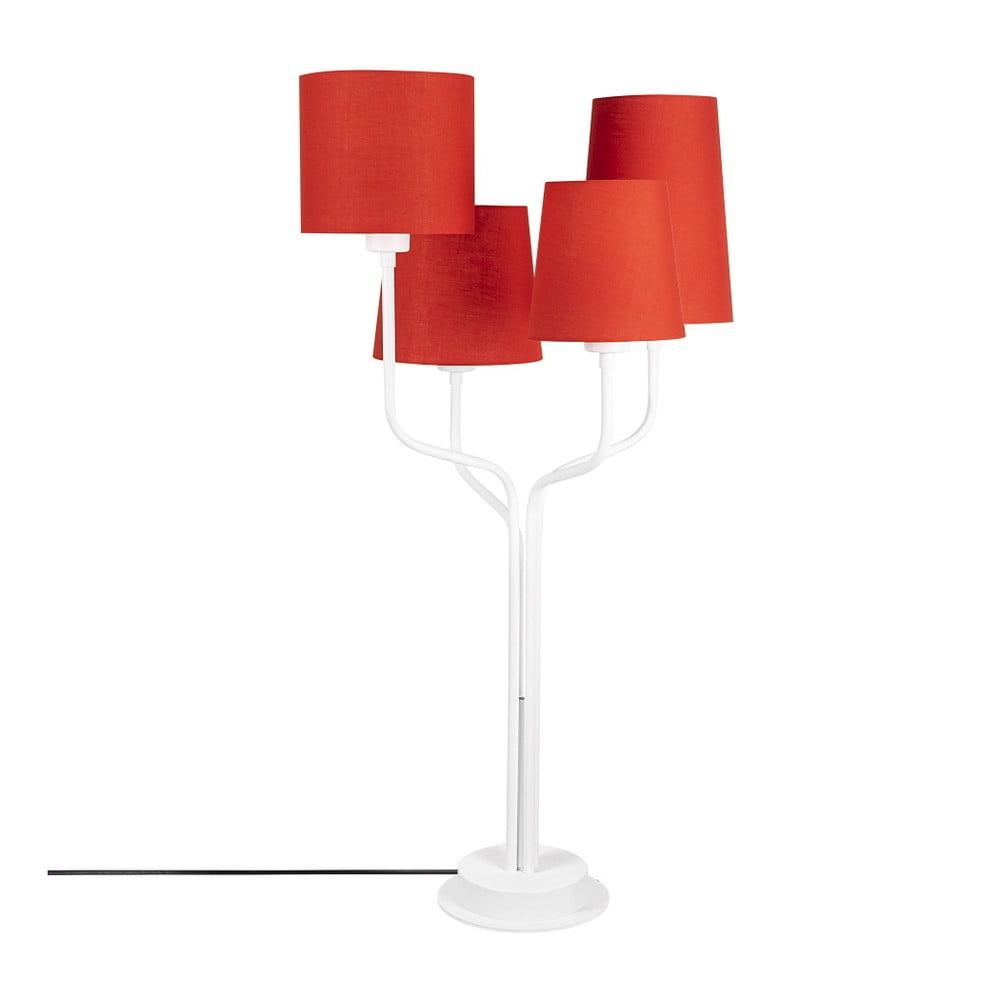 Biała metalowa lampa stołowa z czerwonymi kloszami Opviq lights Aposto