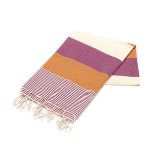 Ręcznik hammam American Fouta Orange & Purple, 100x180 cm