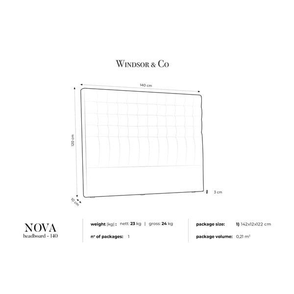 Jasnoszary zagłówek łóżka Windsor & Co Sofas Nova, 140x120 cm