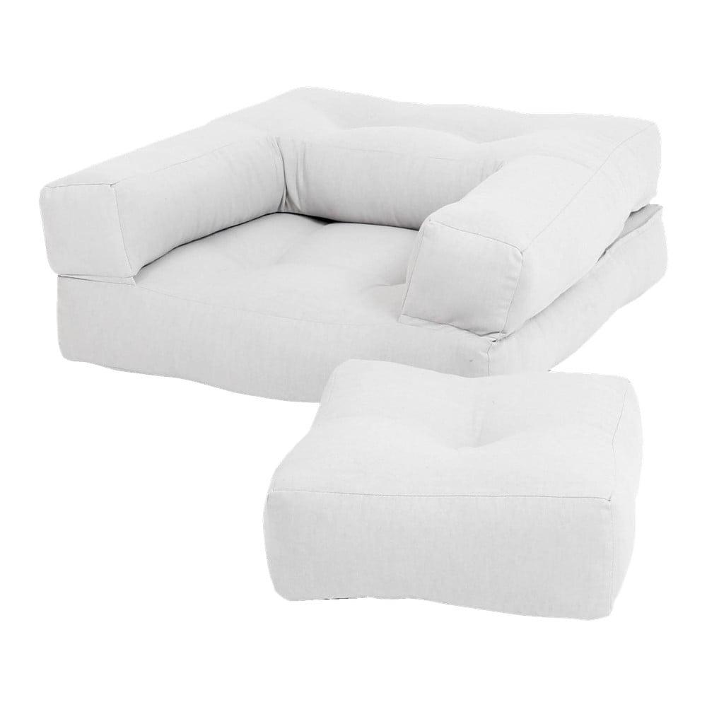Jasnoszary dziecięcy fotel rozkładany z podnóżkiem/pufem Karup Design Mini Cube Grey