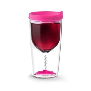 Termos na wino z korkociągiem Vino Opener Pink