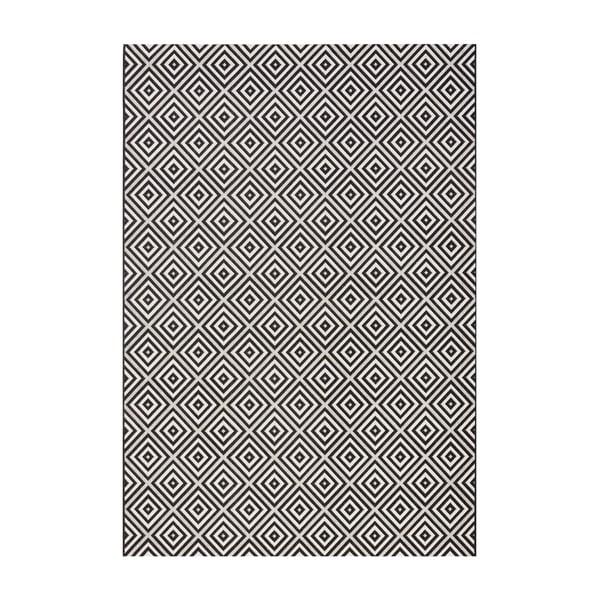 Dywan nadający się na zewnątrz Karo 140x200 cm, czarny