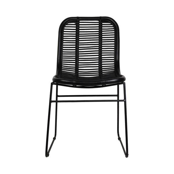 Czarne krzesło do jadalni z rattanu HSM collection