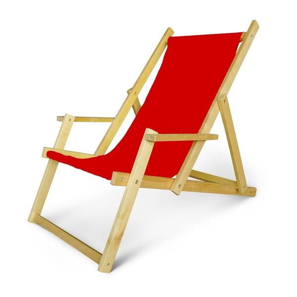 Regulowany leżak drewniany z podłokietnikami JustRest, czerwony