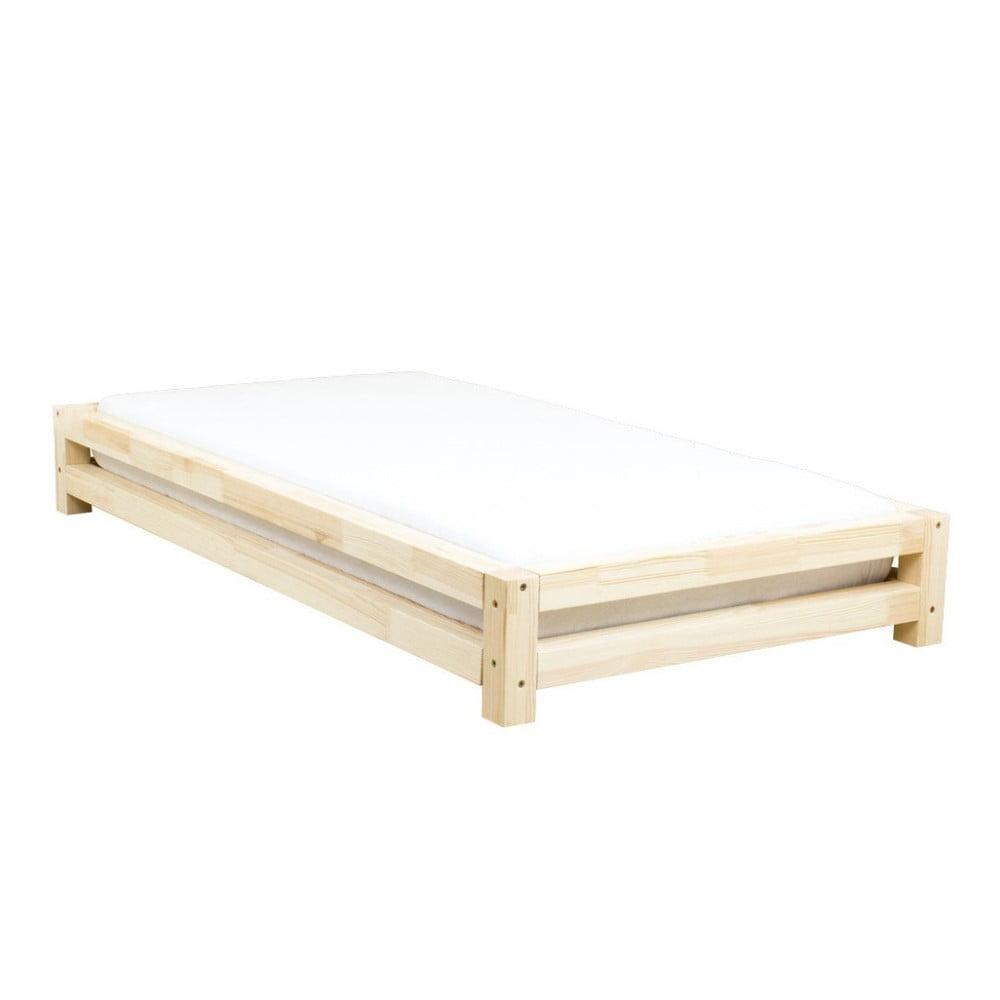 Łóżko 1-osobowe z lakierowanego drewna świerkowego Benlemi JAPA, 90x190 cm
