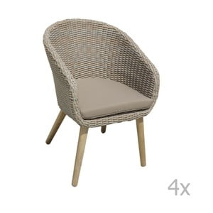 Zestaw 4 foteli ogrodowych z nogami z drewna akacjowego ADDU Visalia