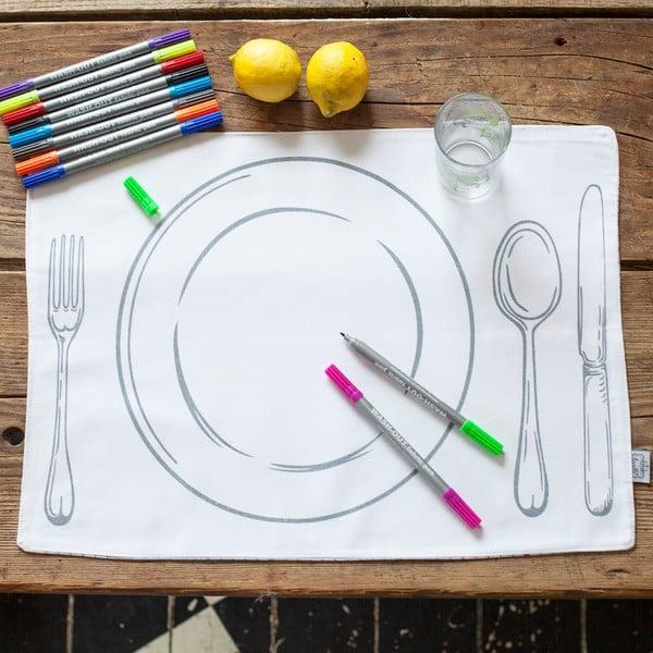 """Zestaw 4 mat stołowych do kolorowania Doodle, motyw """"talerz"""""""