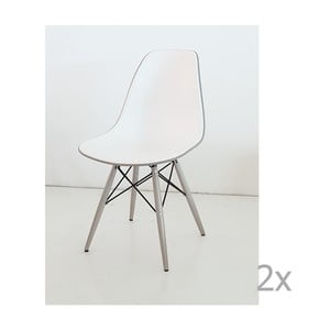 Zestaw 2 biało-szarych krzeseł Castagnetti Poly