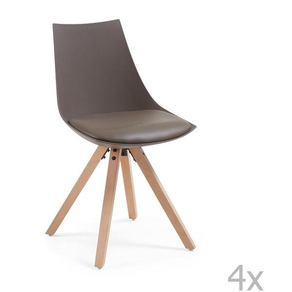 Zestaw 4 brązowych krzeseł La Forma Armony