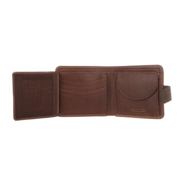 Skórzany portfel Evan Conker Brown