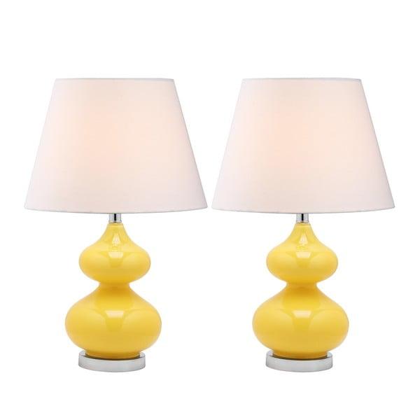 Zestaw 2 lamp stołowych z żółtą podstawą Safavieh Gabriel