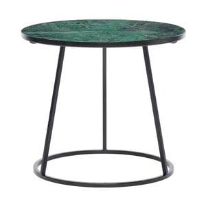 Czarny stolik z zielonym marmurowym blatem Hübsch Dana