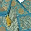 Brokatowe nakrycie na stół Paisley, turkusowe