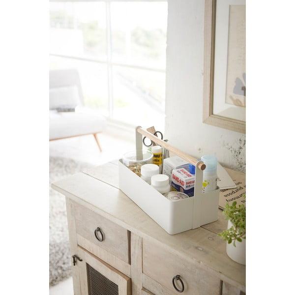 Biały pojemnik z uchwytem Yamazaki Tosca Tool Box L
