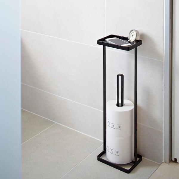Czarny stojak na papier toaletowy z półeczką Yamazaki Tower