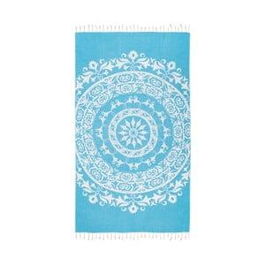Turkusowy ręcznik hammam Kate Louise Madalena, 165x100 cm